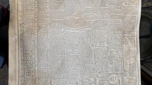 2015-01-18_0RA9267_v1_LTM-PC | Papier-mâché newspaper mats (flong) 1937