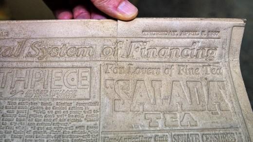 2015-01-18_0RA9273_v1_LTM-PC | Papier-mâché newspaper mats (flong) 1937