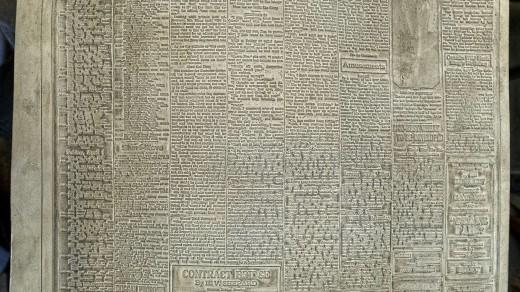 2015-01-18_0RA9275_v1_LTM-PC | Papier-mâché newspaper mats (flong) 1937