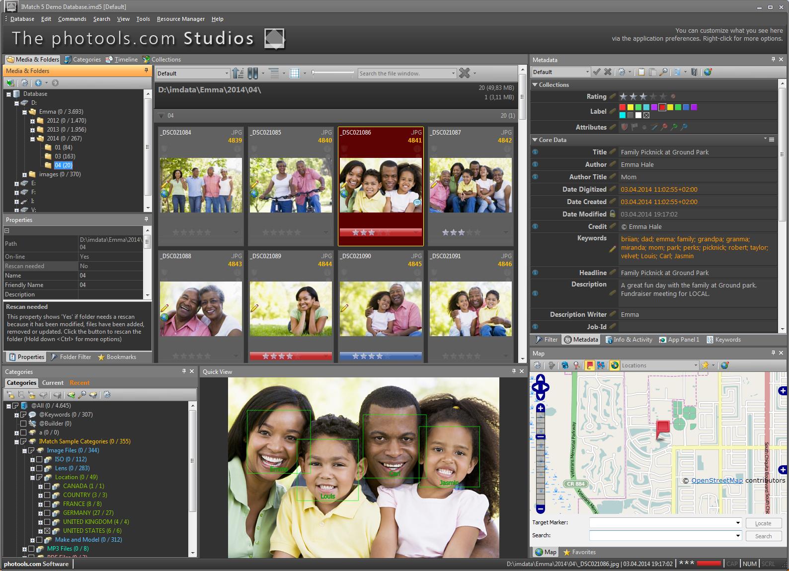 Face annotation tool, Imatch 5, metadata, Photools.com