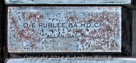 2015-05-14_0RA9681_v1 007 OE Rublee- Allan SK | O.E. Rublee, BA. M.D, C.M. Allan, Sask