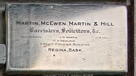 2015-05-14_0RA9706_v1 TRAY 2 003 Martin McEwen & Hill SK | Martin, McEwen, Martin & Hill Barristers, Solicitors &c W.H. McEwen, J.D. Martin, J.W. Hill T.H. Newlove Credit Foncier Building Regina, Sask.