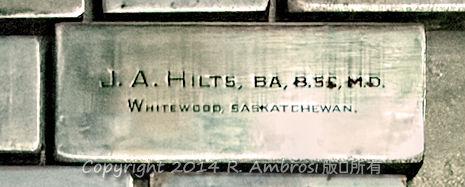 2015-05-14_0RA9721_v1 TRAY 3 011 JA Hilts- Whitewood SK | J.A. Hilts, BA, B.SC, M.D. Whitewood, Saskatchewan.