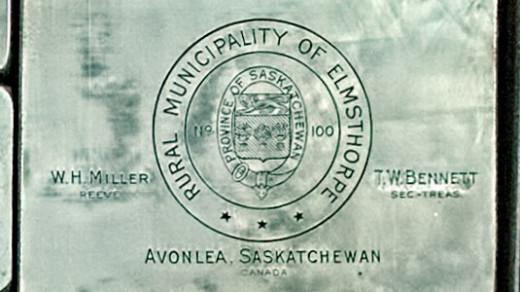 2015-05-14_0RA9721_v1 TRAY 3 017 RM Elmsthorpe- Avonlea SK | Rural Municipality of Elmsthorpe. Province of Saskatchewan. W.H. Miller, Reeve T.W. Bennett, Sec-Treas Avonlea, Saskatchewan Canada.