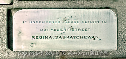 2015-05-14_0RA9721_v1 TRAY 3 031 If undelivered please return - Regina SK | If undelivered please return to 921 Albert Street Regina, Saskatchewan