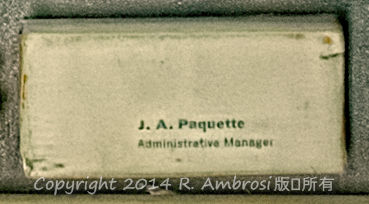 2015-05-14_0RA9721_v1 TRAY 3 038 JA Paquette Administration Manager | J.A. Paquette Administrative Manager.  Note: This die was wrapped after use decades ago and is in pristine condition.