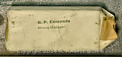 2015-05-14_0RA9721_v1 TRAY 3 039 BP Edmonds Mining Manager | B.P. Edmonds Mining Manager  Note: This die was wrapped after use decades ago and is in pristine condition.