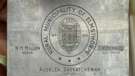 2015-05-14_0RA9737_v1 cropRRRightRead | Rural Municipality of Elmsthorpe. Province of Saskatchewan. W.H. Miller, Reeve T.W. Bennett, Sec-Treas Avonlea, Saskatchewan Canada.
