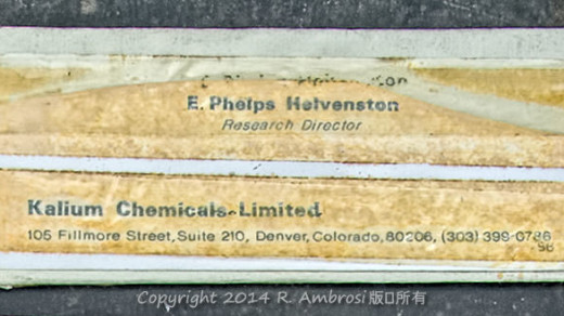 2015-05-14_0RA9744_v1 TRAY 4 028 Kalium Chemicals E Phelps Helvenston1200 | E. Phelps Helvenston Research Director Kalium Chemicals Limited 105 Fillmore Street, Suite 210, Denver, Colorado 80206 (303) 399-0786