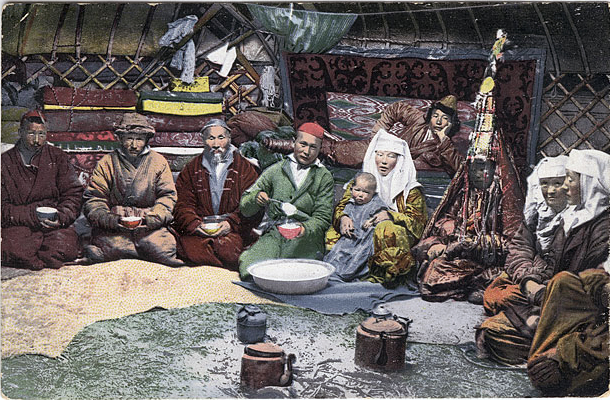 Inside a Kazakh yurt.  Date: taken between 1911 and 1914 Photo credit: Sergei Ivanovich Borisov [ Public domain via Wikimedia Commons https://commons.wikimedia.org/wiki/File%3ASB_-_Inside_a_Kazakh_yurt.jpg